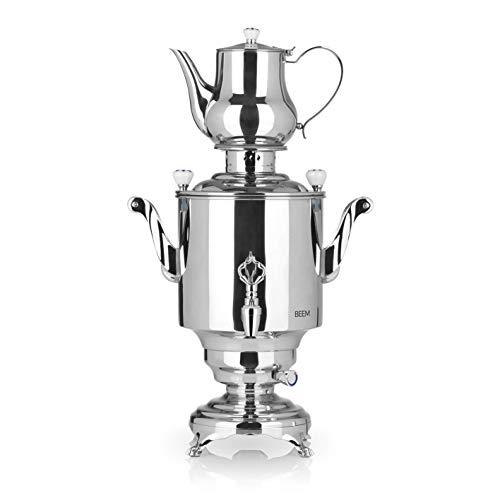 BEEM SAMOWAR Romanov - 5 l   Teekocher elektrisch   1.800 W   Edelstahl   5 l Wasserbehälter   1,3 l Teekanne   Privat, Hotel & Gastro geeignet