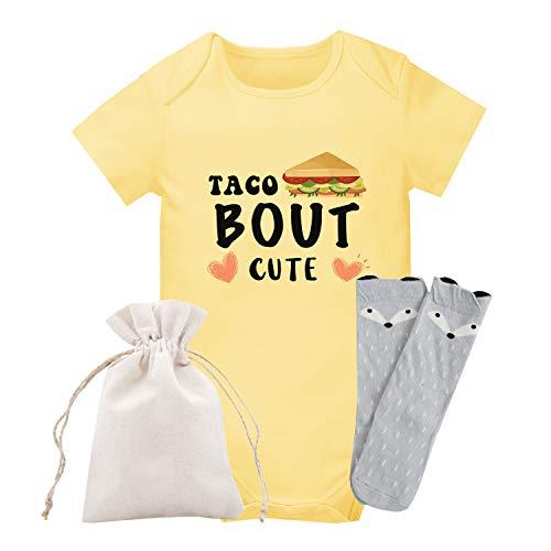 QIANWANYI Body de bebé para niña con conjunto de calcetines - amarillo - 3-6 meses