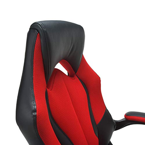 OFM Essentials Collection High-Back Racing Style Bonded Leather Gaming Chair, in Red (ESS-3086-RED)