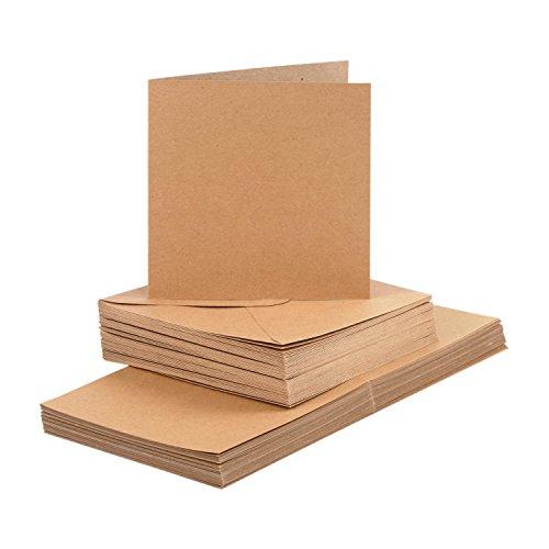 Card making Karten und Briefumschläge Set, 14,8 x 14,8 cm, Kraftpapier braun, 100-tlg.