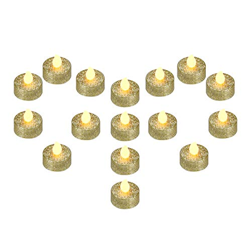 YEHTEH Gold Glitter LED Flameless Tealight Candles, Battery Operated Support 100 + Hours, Pack of 16, Realistic Flickering Warm Yellow Flame,for Wedding and Holiday Decoration (Gold)