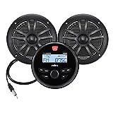 Marine Stereo Speaker Package Bluetooth, MP3 USB AM FM Marine Stereo - 2 x 6.5 Inch Black Speakers, Antenna