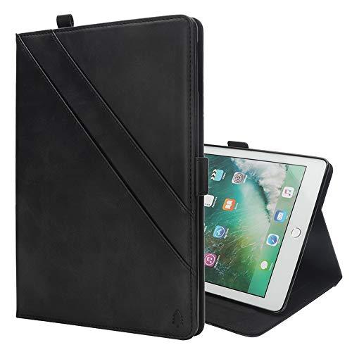 Lederen hoes voor iPad mini 4 & 3 & 2 & 1 met kaartvakken en fotolijst voor foto, zwart