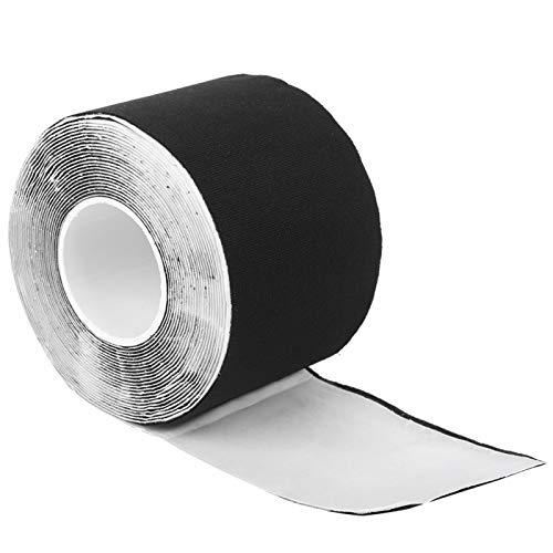 5m Brustwarzen-Abdeckband, wasserfeste selbstklebende Brustwarzenpaste, atmungsaktives Bruststraffungsband Sportliches Tape für Körbchen A-E Große Brüste Kleider T‑Shirts(black, Length 5M Width 6CM)