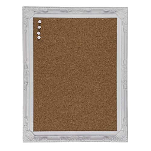 Kork Pinnwand im weißen Kunststoffrahmen im Antik-Stil inkl. 4 Nadeln im Antik-Stil, Maße (H x B x T): 44 x 34 x 2,5 cm; Material: Holz, Kork, Kunststoff; quer und hochkant aufhängbar