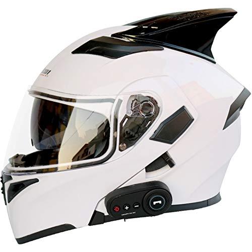 1200 MAh Bluetooth Casco Moto Integral, DiseñO De Doble Visera, CertificacióN DOT/ECE Casco Moto Modular, Con Cuernos Decorativos Cascos Moto, Con FM, Respuesta AutomáTica