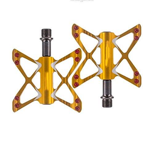 Pedal de bicicleta de montaña de la aleación de aluminio del cojinete de rodamiento pedal de la bicicleta Accesorios de bicicletas Pedales de Bicicleta de Montaña Duraderos Ultralig ( Color : Golden )