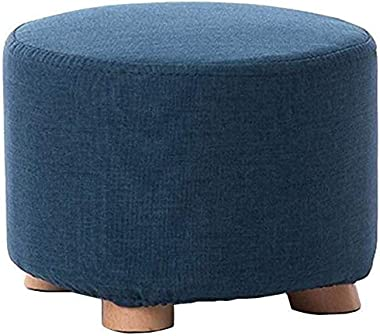 lyqqqq Ottomans Modern Simplicity Solid Wood Legs Linen Cushion Round Multifunction-Footstool Sofa Stool Wooden Bench Seat (C