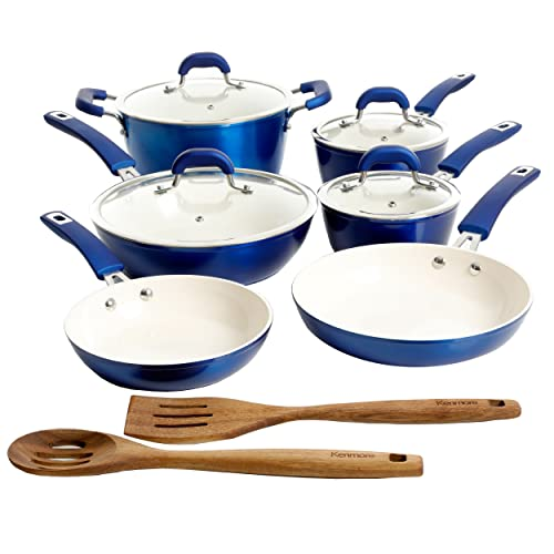 Kenmore Arlington Nonstick Ceramic Coated Forged Aluminum Induction Cookware with Bakelite Handles,...