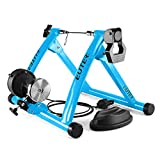 CCHM Vélo Rollers Trainer Home Exercise Training Indoor 6 Speed Magnetic Resistance Bicycle Trainer Portable Folding Cycling,Bleu