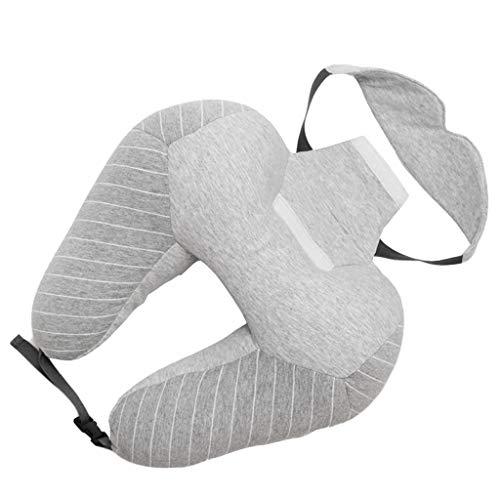 Almohada para el cuello para viajar, almohada clás Cuello en forma de U Almohadas para el cuello + Máscara para los ojos A cuadros Cintura Cojín Almohada de viaje para el avión del coche Oficina del s