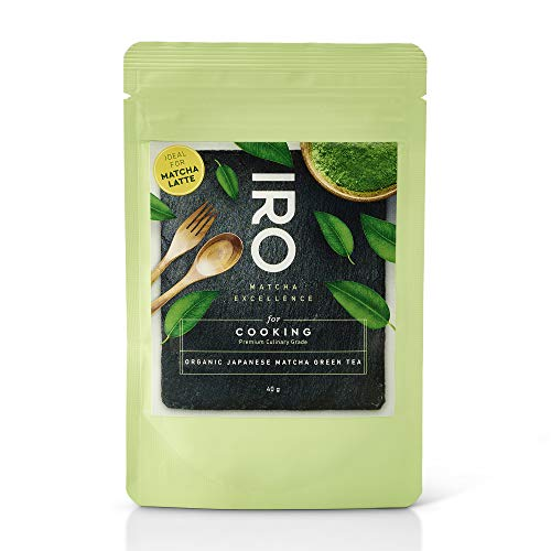 Té Verde Matcha Biológico japonés en polvo IRO para cocina y latte, Premium Culinary Grade, bolsa de 40 g, ideal para Matcha Latte o para repostería, postres, helados y batidos. 100 % orgánico