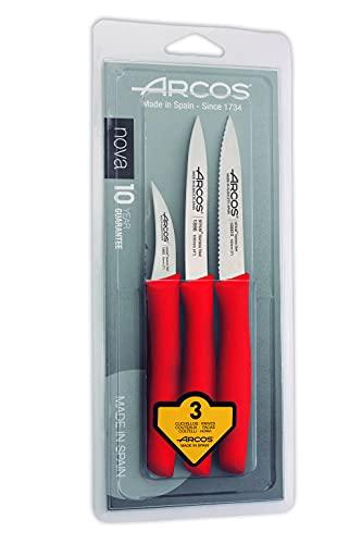 Arcos Serie Nova, Set 3 pzas. Cuchillos Mondadores, Hoja de Acero Inoxidable de 60 mm y 100 mm y 100 mm, Mango de Polipropileno Color Rojo