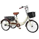 Adulto Triciclos De Velocidad Variable, Trikes 3 Bicicletas Ruedas, Bici 3 Ruedas Cruise Trike con Carrito, Asiento Cómodo For Personas Mayores, Mujeres, Hombres (Color : Beige)