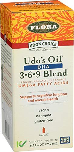 UDO's Triple Omega 3-6-9 DHA Oil Blend, 8.5 oz - Non-GMO & Gluten Free
