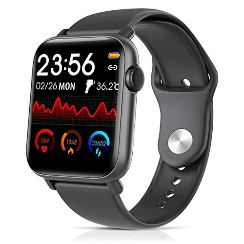 CENTECH-Reloj conectado Termómetro Oxímetro Smartwatch Salud Temperatura del cuerpo Muñequera Inteligente Táctil Impermeable Deporte Podómetro Rastreador Ritmo cardíaco Monitor de presión arterial