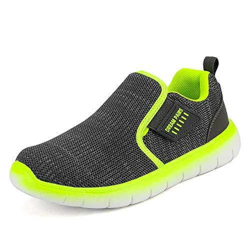 DREAM PAIRS Jungen Mädchen Mesh Atmungsaktive Laufschuhe Turnschuhe Unisex-Kinder Outdoor Sneaker Grau Neon Größe 6 US Big Kid / 38 EU Luca