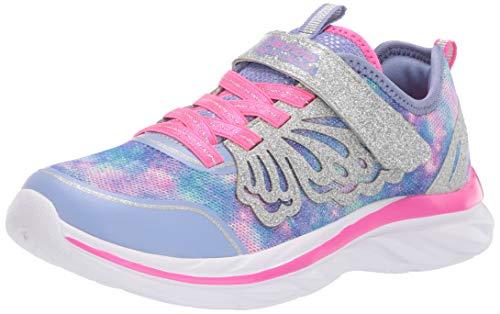 Skechers Jungen Mädchen Quick Kicks Sneaker, Violett (Periwinkle Sparkle Mesh/Silver Glitter/Pink Trim Pwpk), 27 EU