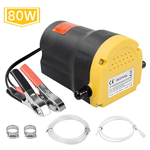 Upgraded 80W Oil Change Pump Extractor Sicotool 12v Diesel Fluid Scavenge Suction Oil Transfer Pump with Hose for Car Boat Motorbike Truck ATV and Other Vehicles.