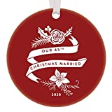 45th Wedding Anniversary Christmas 2020 Ornament Husband & Wife Married 45 Years Holiday Keepsake Gift Ideas Mother & Father Grandparents Present 3' Flat Circle Ceramic Red Boho Floral Tree Decoration