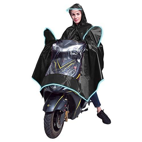 gshhd88 Regenponcho voor volwassenen, winddicht, waterdicht, fiets, motor, scooter, capuchon, mantel, dames, heren, regenjas, cape, regenbescherming, volledige bescherming met vizier & reflex