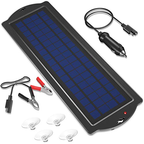 POWOXI 3.5W 12V Solar Trickle Charger for Car Battery, Portable and Waterproof, High Conversion Single Crystal Silicon Solar Panel car Battery Charger for Motorcycle Boat (3.5w Solar Chargers-Black)