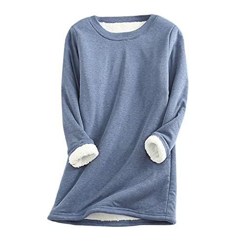 Masrin Mask Dickes Fleece-Sweatshirt für Damen Winter Solid Plus Samt Warm Pullover O-Ausschnitt Langarm Oversize Shirts Top(L,Blau)