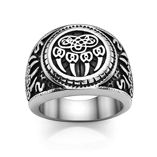 PiercingJ Men's Stainless Steel Viking Norse Celtic Knot Pagan Slavic Nordic Wolf Bear Paw Claw Veles Symbol Men Biker Signet Ring Size 9-13