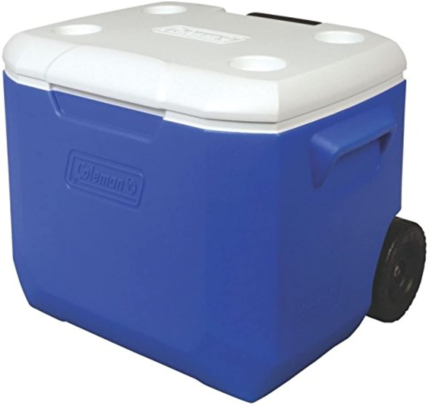 Wheeled Chest Cooler, 60 qt, bluee, White