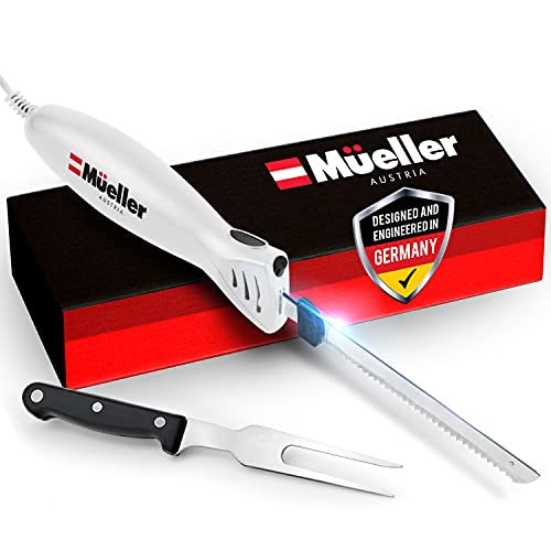 Mueller Ultra-Carver Electric Knife for Carving Meats, Poultry, Bread, Crafting Foam. Stainless Steel Blades, Powerful Motor, Ergonomic Handle, One-Touch On/Off Button, Serving Fork Included, White