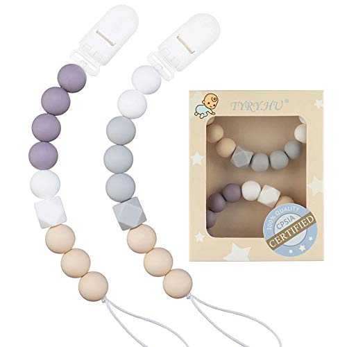 Pacifier Clip TYRY.HU Teething Silicone Beads Soothie Binky Holder Teether Clips for Boys Girls, Baby Registry Shower Gifts, 2 Pack (Purple, Grey)