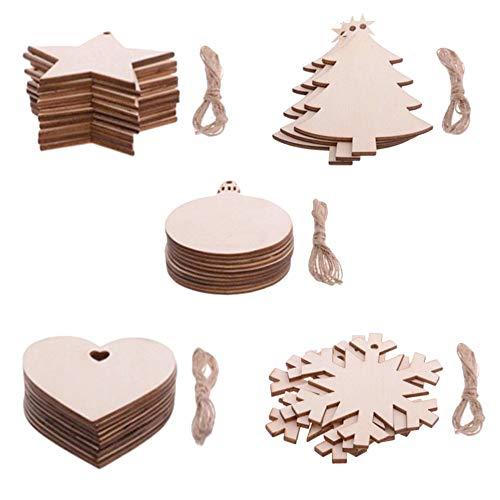 Ceqiny 50 piezas de madera con forma corazón de círculos copo de nieve estrella árbol de Navidad rodajas de madera sin terminar, para manualidades bodas fiestas de cumpleaños, proyectos de bricolaje