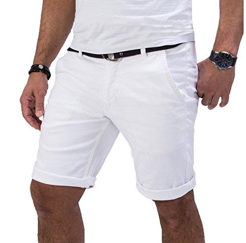 Rock Creek Herren Chino Shorts Hose Kurz Chinoshorts Inkl Gürtel Männer Sommer Bermuda Stretch Rc-2133 38 Weiß