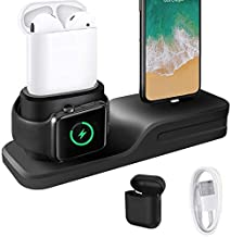 KEHANGDA 3 in 1 Charging Stand for iPhone AirPods Apple Watch Charger Dock Station Silicone,Support for Apple Watch Series 3/2/ 1/ AirPods/iPhone X/8/8 Plus/ 7/7 Plus /6s Black