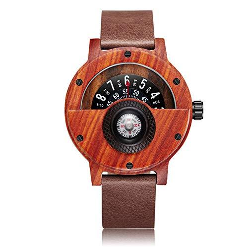 WFE&QFN Hölzerne Uhr Kreative hölzerne Uhr für Männer einzigartige Kompass Plattenspieler halbes Zifferblatt männliche Uhr Leder natürliche Holz Armbanduhr Uhr, Rosenholz