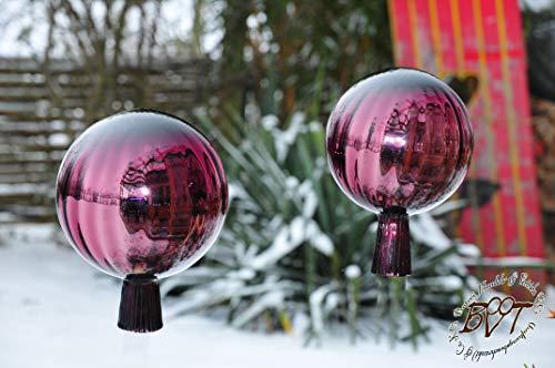 2 Stk Gartenkugel ca. 18 und 25 cm Violett gross Form Kugel, klassische Kugelform handgefertigt Rosenkugel gartenkugeln, Sonnenfänger-Kugel, Sonnenfänger-Scheibe, Sonnenfängerscheiben, Gartendeko F