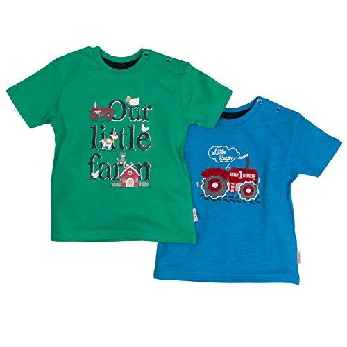 Salt & Pepper Baby-Jungen B Multiset Little Farm T-Shirt, Mehrfarbig (Green Malibu Blue 650-448), 74
