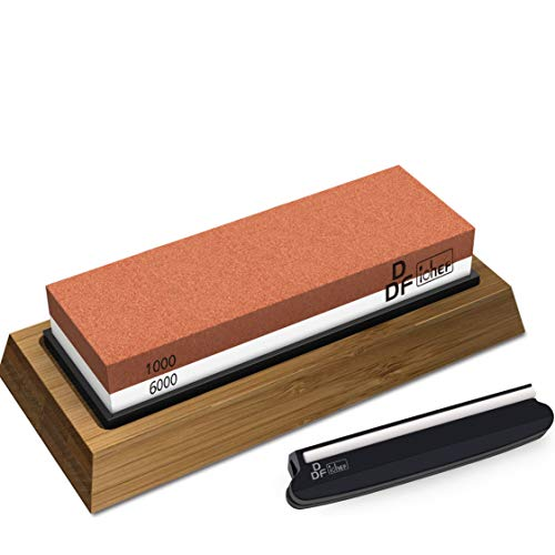 Whetstone Knife Sharpening Stone Set, Premium 2-Sided Whetstone Sharpener 1000/6000 Grit Whetstone Kit with Non-Slip Bamboo and Silicon Base Angle Guide for Chef Knife, Kitchen Knife, Hunting Knife