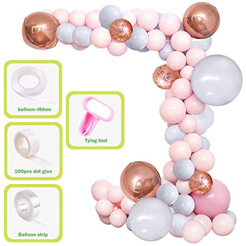YiRAN Balloon Garland Arch Kit 16Ft Long Luxury 173pcs Macaron Pink Macaron Grey Rose Gold Balloons Pack for Girl Birthday Baby Shower Bachelorette Party Centerpiece Backdrop Background Decorations