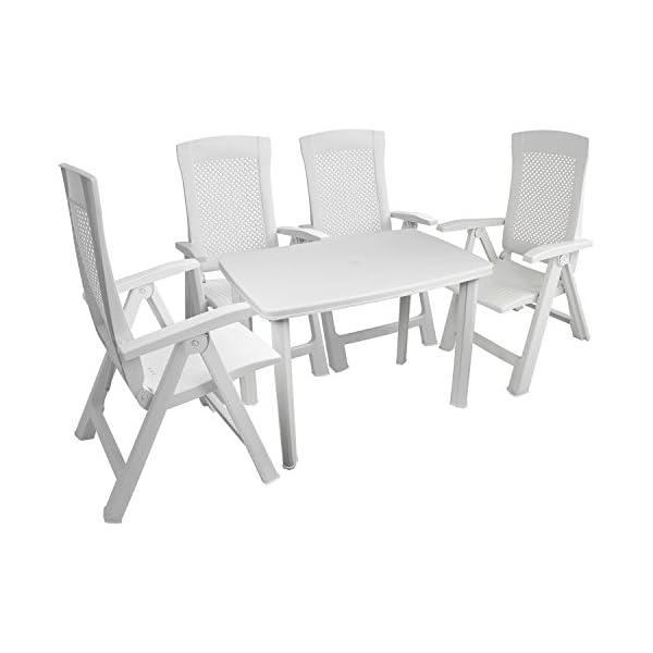 Multistore 2002 Robuster Gartentisch 101x68cm, Kunststoff, Weiß, Campingtisch Beistelltisch