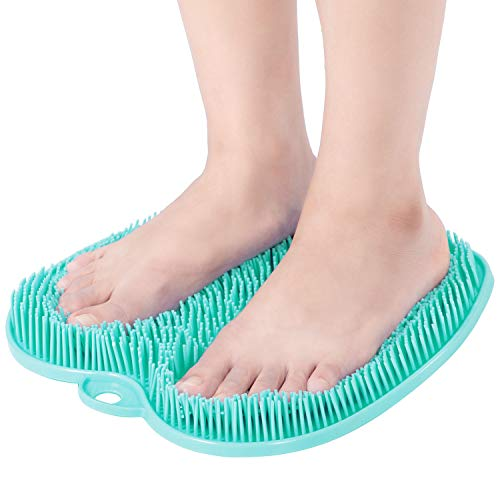 Larger Shower Foot Scrubber Mat with Non-Slip Suction Cups- Cleans, Smooths, Exfoliates & Massages your Feet Without Bending, Improve Foot Circulation & Soothes Tired Feet, Great for Shower or Bathtub