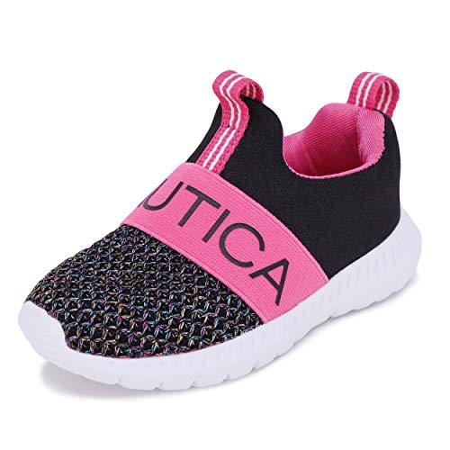 Nautica Kids Boys Girls Fashion Sneaker Running Shoe Slip-On Jogger Toddler and Little Kid-Mattoon-Black Multi-10