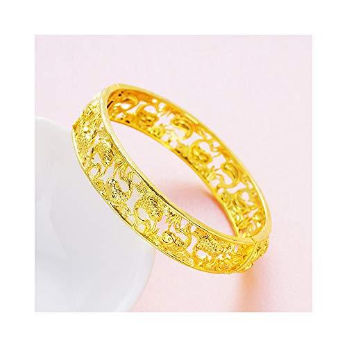 Pulsera De Pulsera para Mujer, Pulsera De Oro con Patrón Calado Ovalado Pulsera De Joyería De Regalo De Dama De Honor De Novia con Brazalete Ancho Chapado En Oro (Color : Bracelet(3))