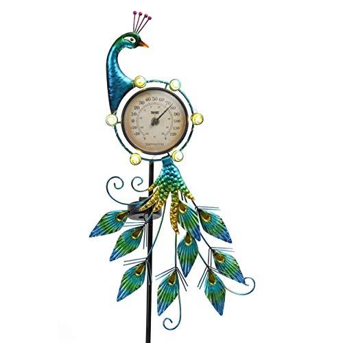 TERESA'S COLLECTIONS Metall Pfau Solar Gartenfiguren mit Thermometer für Außen 100cm Led Solarleuchte Frühling Sommer Gartendeko Figuren Gartenleuchten Wasserfest Solarlampe für Hof