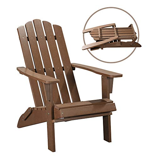 PolyTEAK Classic Folding Poly Adirondack Chair, Walnut Brown | Adult-Size, Weather Resistant, Made from Special Formulated Poly Lumber Plastic