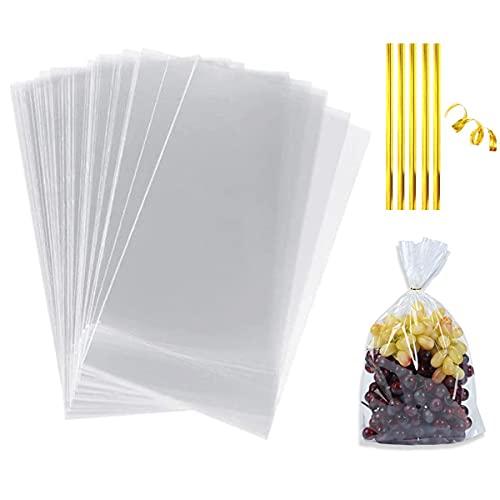 100 Piezas Bolsa Celofan Transparente 16 x 25 cm,Bolsa De Dulces,bolsas de celofán para envolver,Bolsas para Galletas con Chocolate,Bolsa Caramelos con 200 Lazos de Oro para