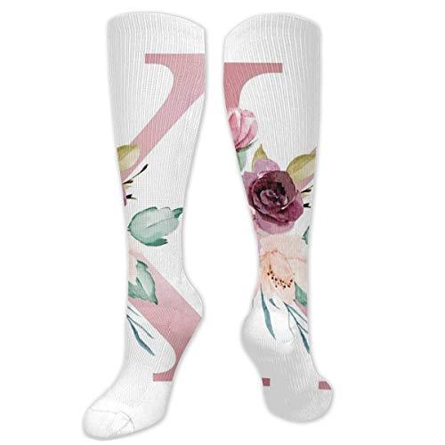 Calcetines de compresión para hombre y mujer, ideales para correr, deportes atléticos, venas varicosas, viaje-letra K con flores de acuarela y hojas