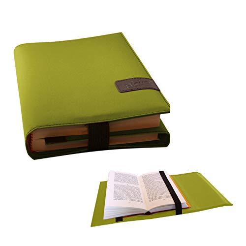 BookSkin Multifunktionshülle (Mikrofaser) - lind-grün - flexibel anpassbar an Buchdicke/inkl. Lesezeichen: schützende Buchhülle aus Mikrofaser mit integriertem Lesezeichen