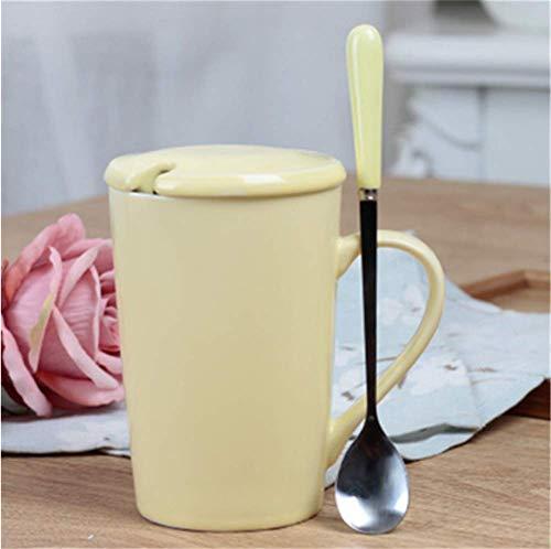 mingyuSet di Piatti in Ceramica, Tazza di caffè Riutilizzabile 350ml, può Essere utilizzato Come Tazza da Viaggio o Tazza di caffè Domestico 9 * 6.5cm Giallo