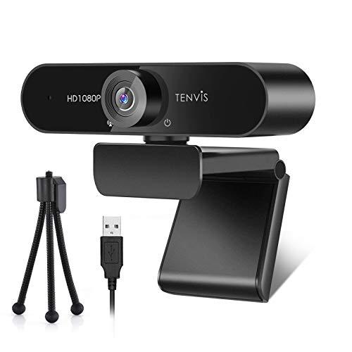 1080P Webcam - TENVIS Full HD Webcam mit Mikrofon, 120 ° Weitwinkel Streaming Kamera mit Low-Light Korrektur, mit Stativ, Plug und Play, für Linux, PC, Windows, Mac OS, für Skype, Zoom, Konferenz